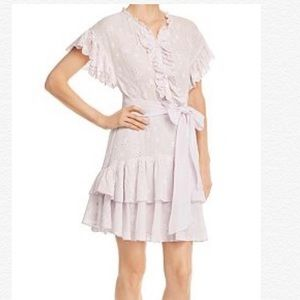 REBECCA TAYLOR DREE EMBROIDERED RUFFLE DRESS